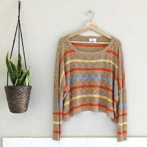 Storia Tan Striped Oversize Cropped Sweater